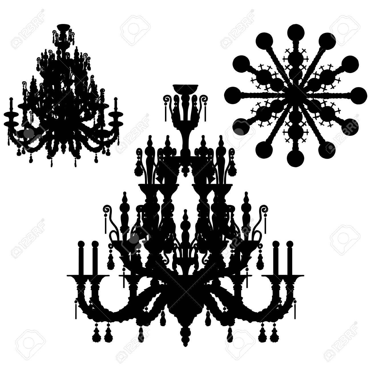 Silhouette of luxury chandelier Stock Vector - 17477180