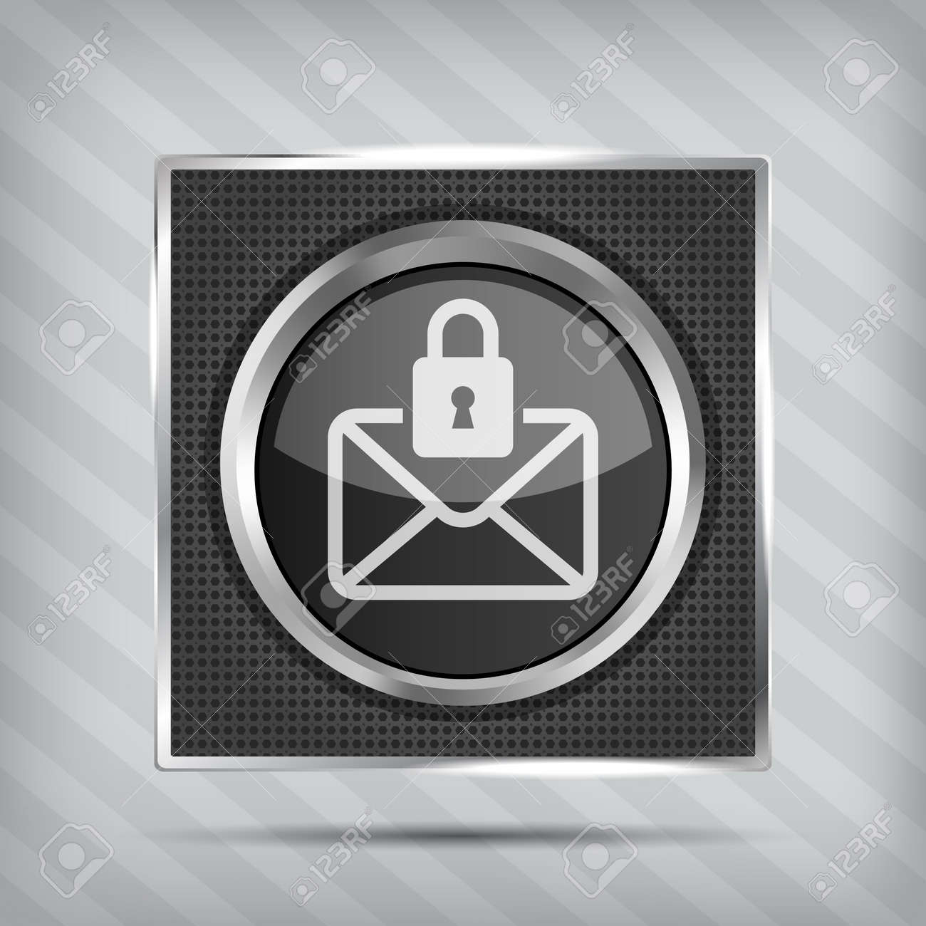 email with padlock button icon on the metallic background Stock Vector - 17477200
