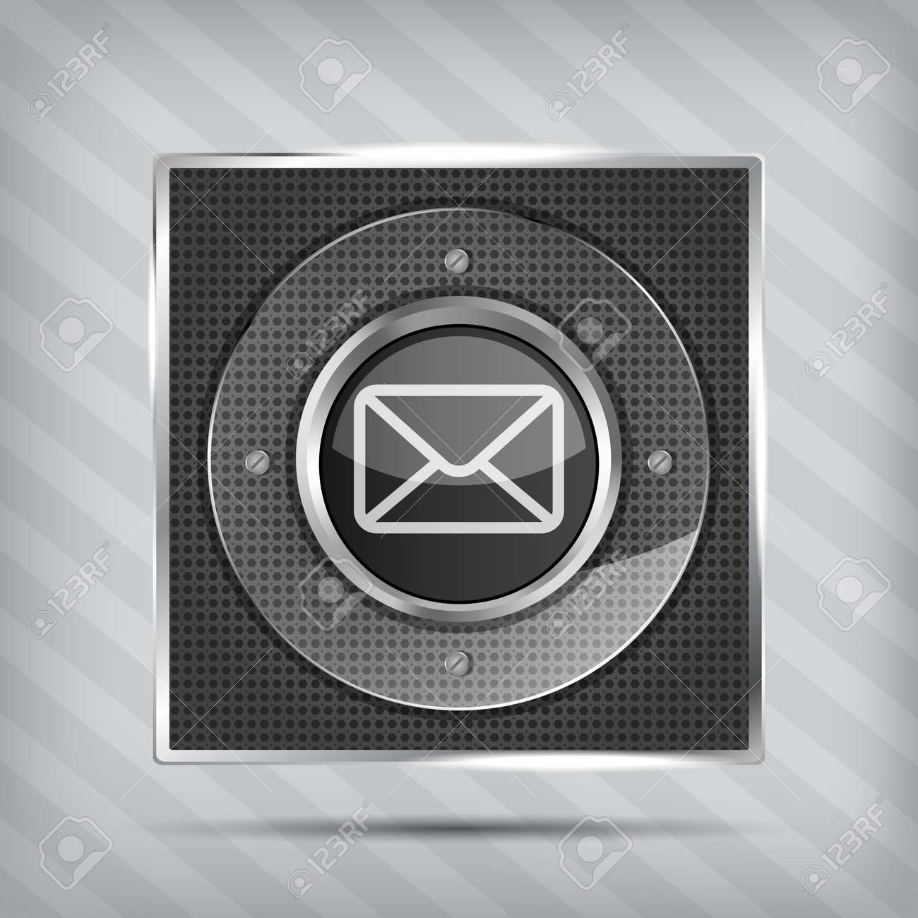 email button icon on the metallic background Stock Vector - 17477217