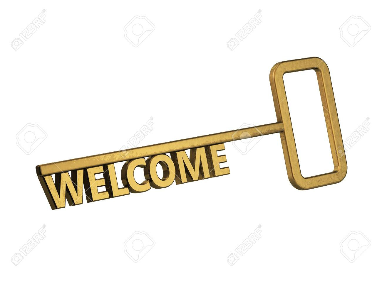 golden key with word welcome on a white background Stock Photo - 18683532