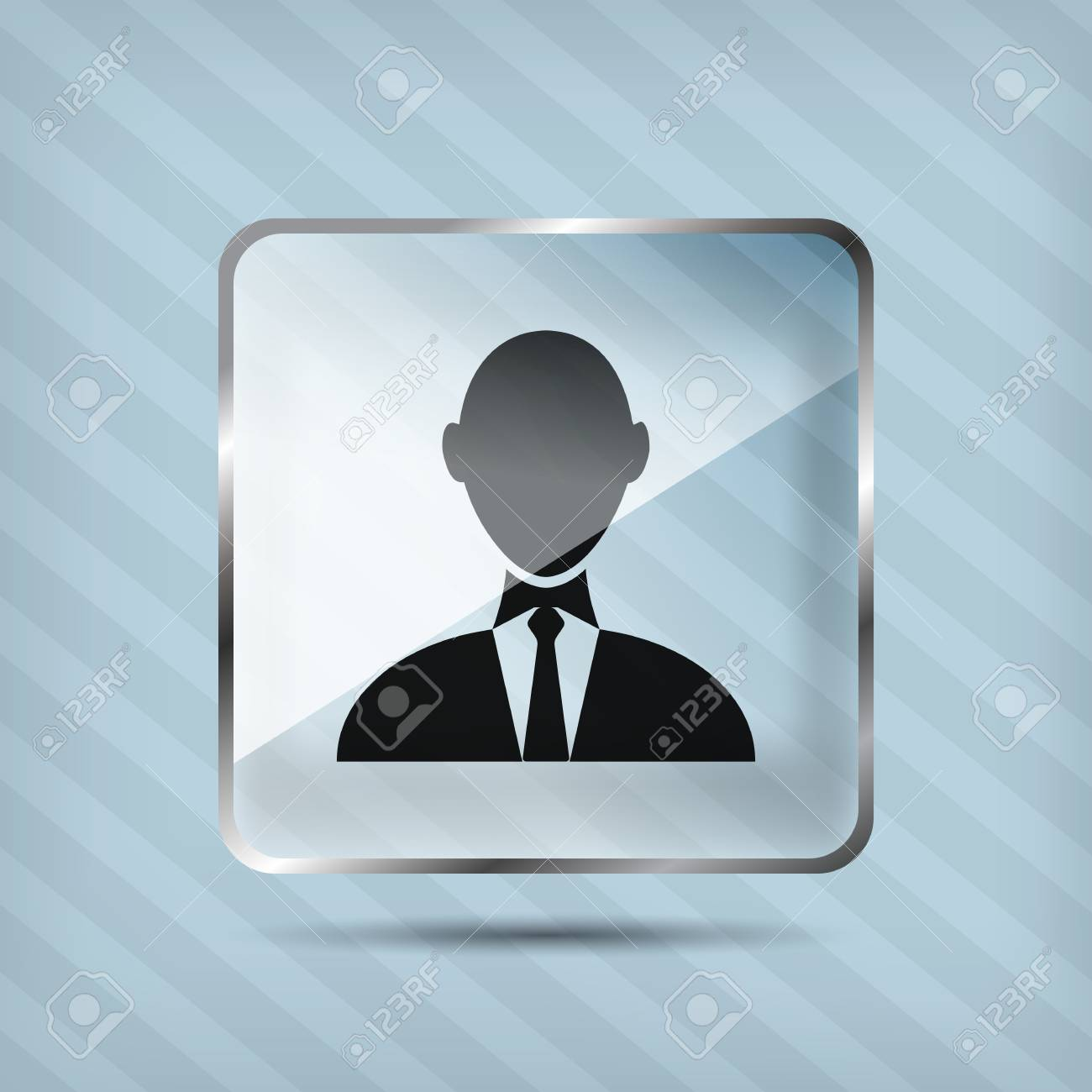 glass businessman icon on the striped background Stock Vector - 18861762