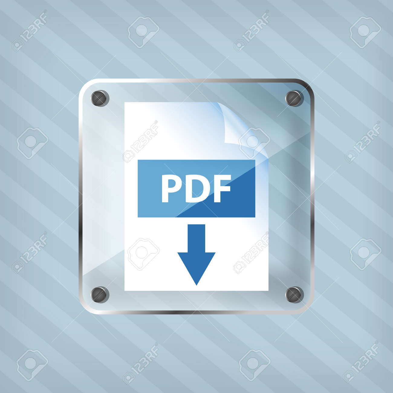 transparency pdf download icon on a striped background Stock Vector - 18861786
