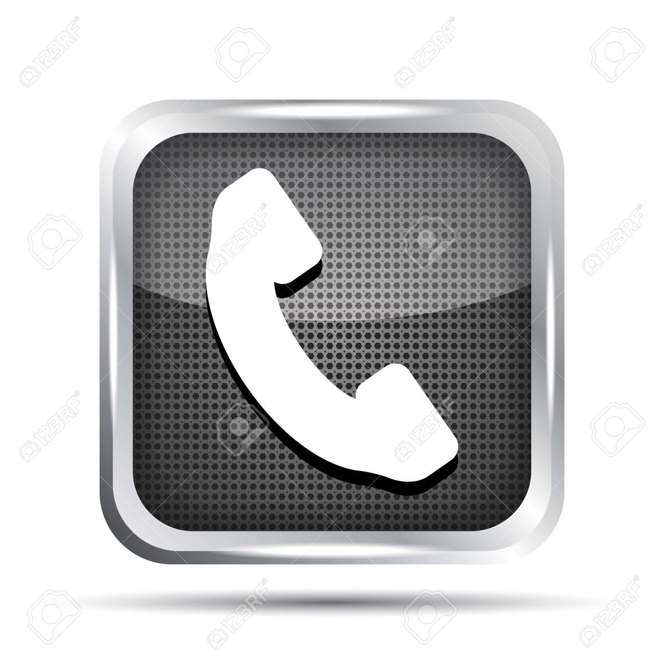 metallic phone button icon on a white background Stock Vector - 19619764