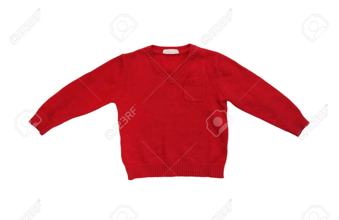 Rode Trui.Kinder Rode Trui Geisoleerd Op Een Witte Achtergrond Royalty Vrije