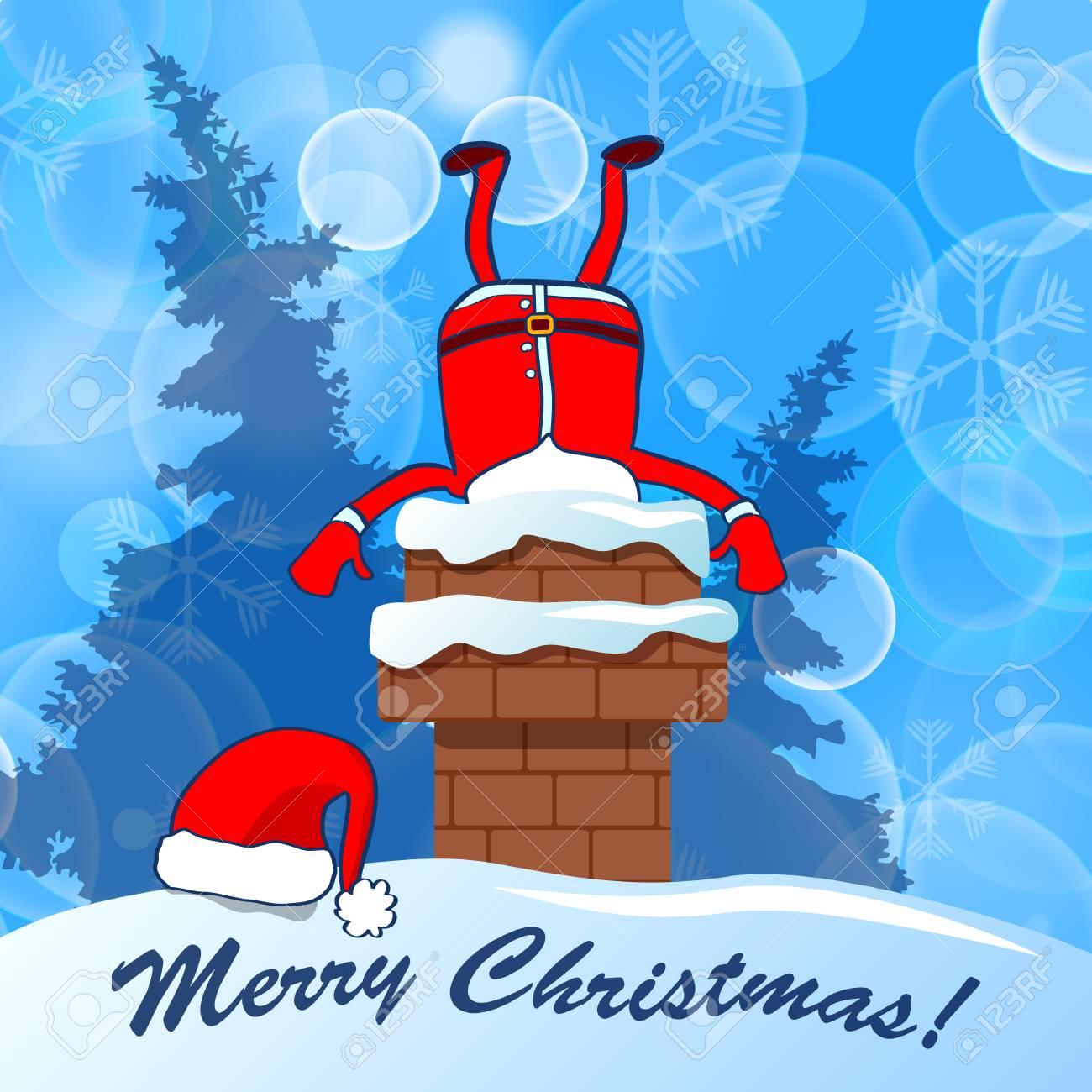 Fröhliche Weihnachten! Santa Claus Fest Im Kamin Auf Einem Blauen ...
