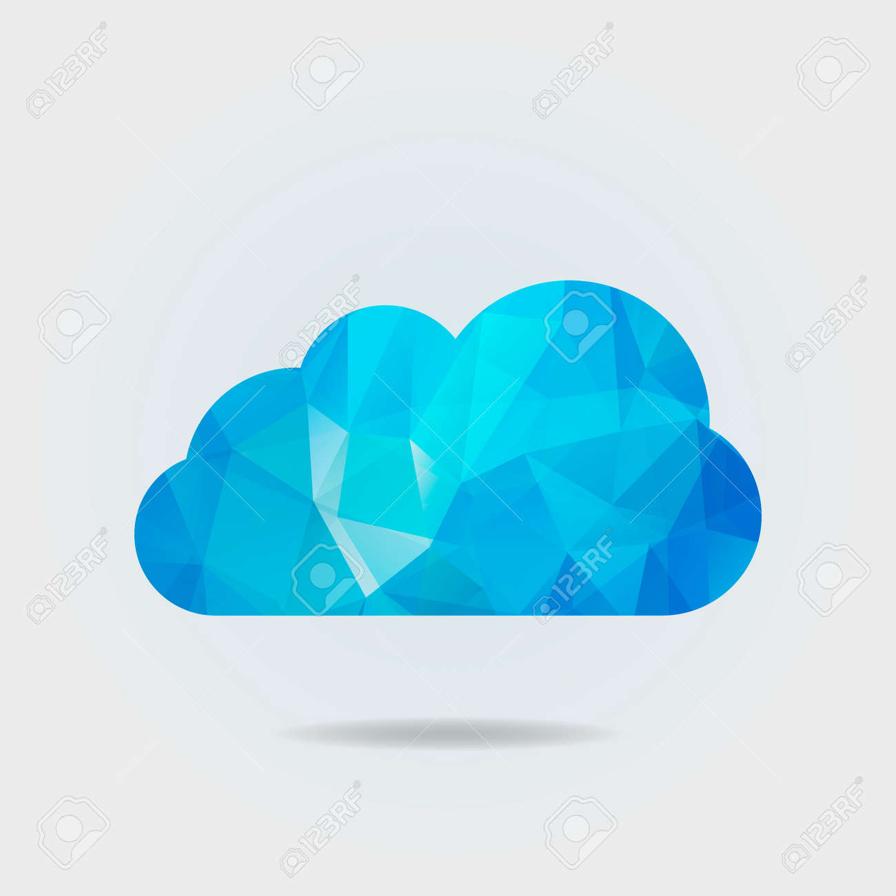 Vector illustration of triangle paper cloud on grey background - 129088366