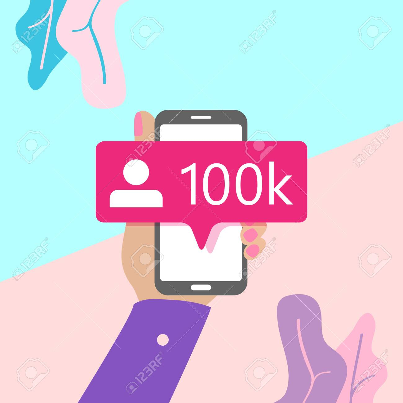 flat lay modern minimal hand holding mobile phone with new pink ten chiliad like followers social media iconon screen with shadow on pastel colored blue and pink background. Pink bubble icon set for websites, blog, mobile interfaces - 151498951