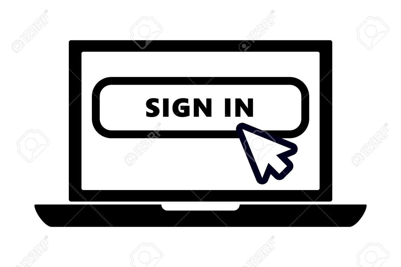 flat black laptop icon with arrow pointer or cursor mouse clicking on sign in button linear icon. Concept of using screen mobile computer or search click mouse for website. - 152074899