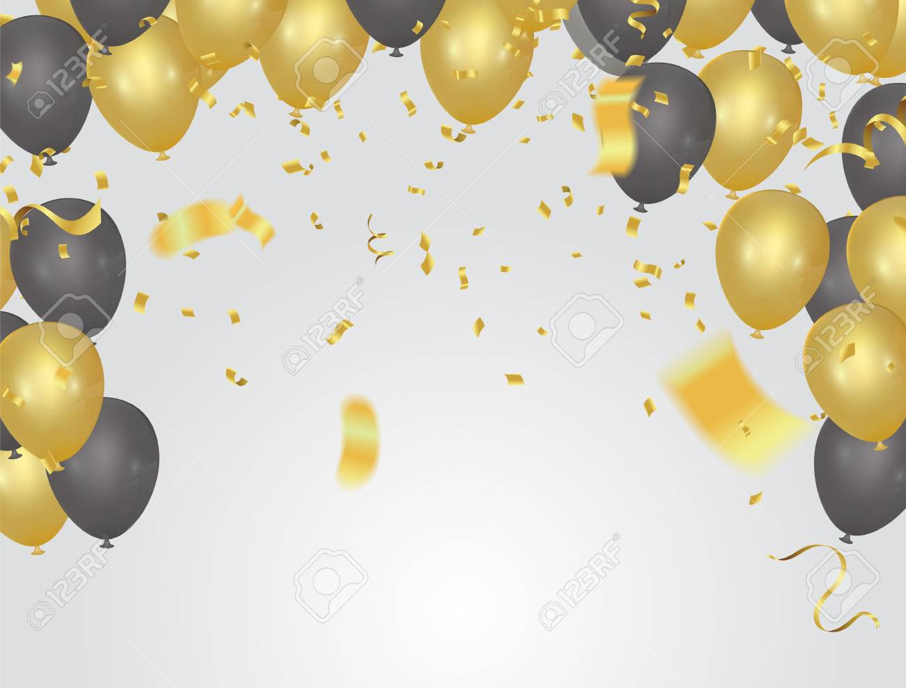 festive card golden balloons and confetti, party invitation. festive celebration - 96330485