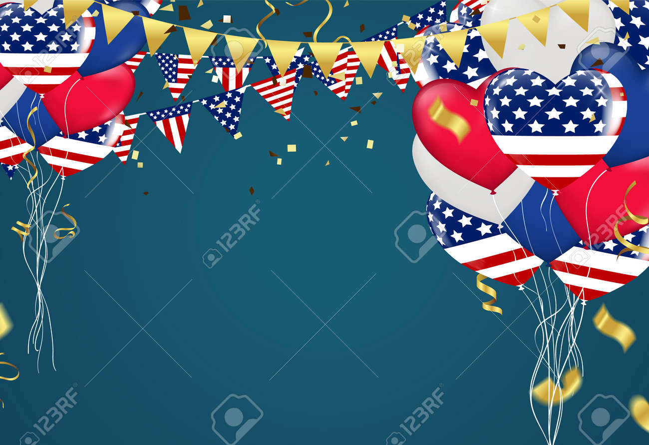 4th July USA Independence Day Balloons Vector Triangular Flags