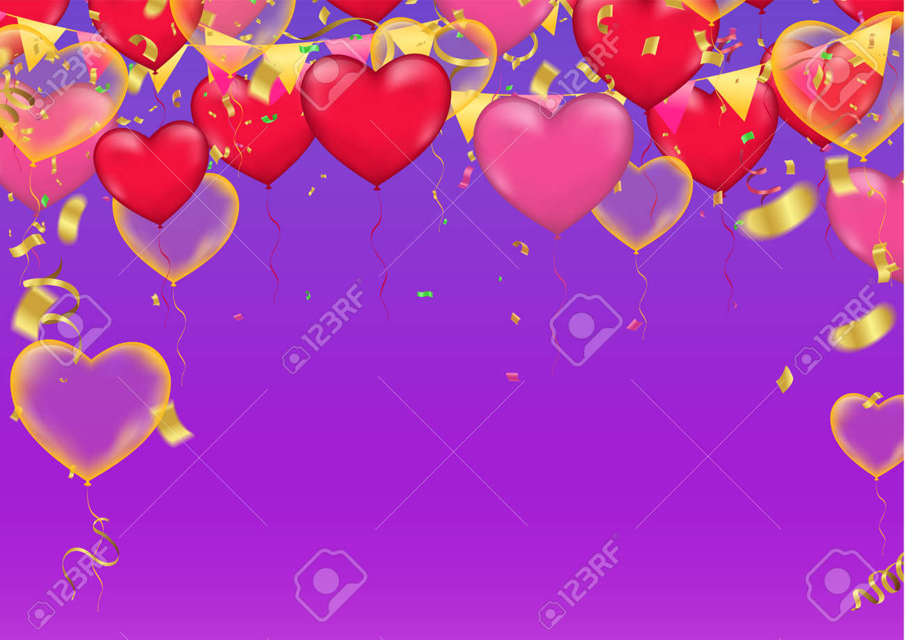 Vector party Heart balloons illustration. Confetti and ribbons flag Celebration purple background template typography for greeting - 124256403