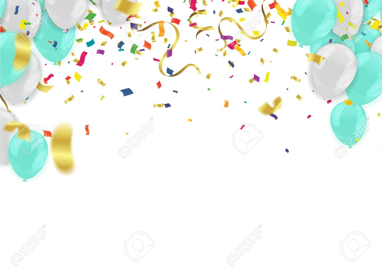 Abstract Background with Shining white and blue Balloons. Birthday, Party, Presentation - 141051619