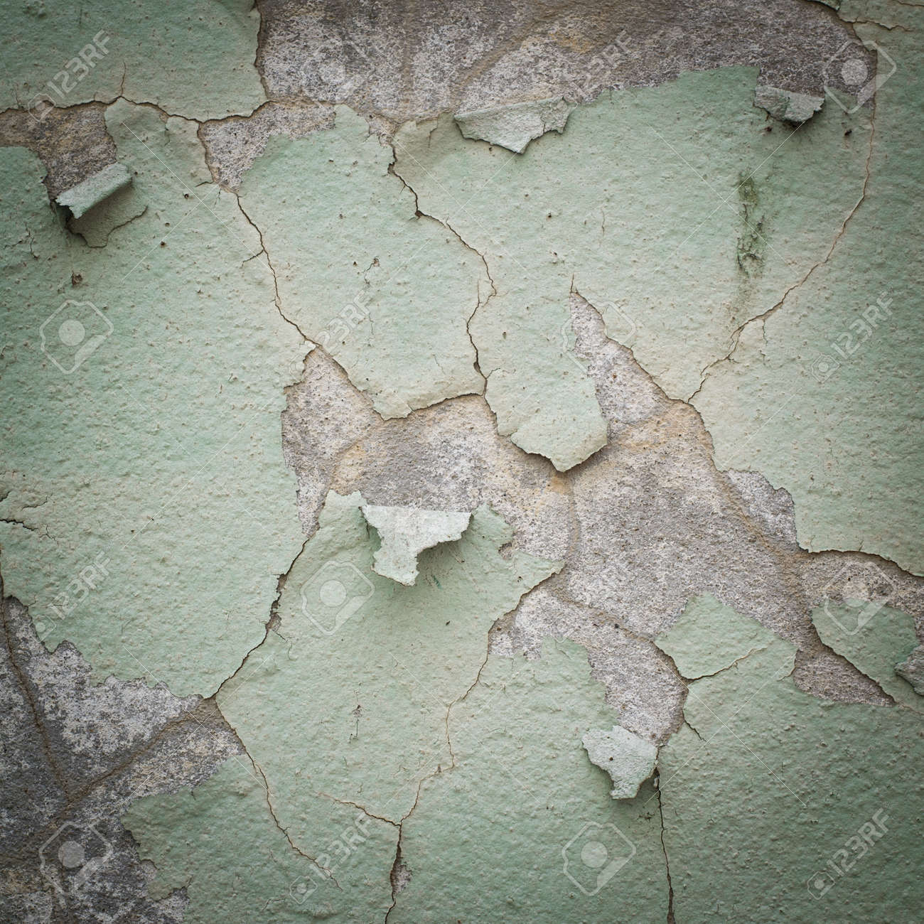 Old Wall Color Texture Green Oldseamless White Cracked Paint Grunge Background Stock