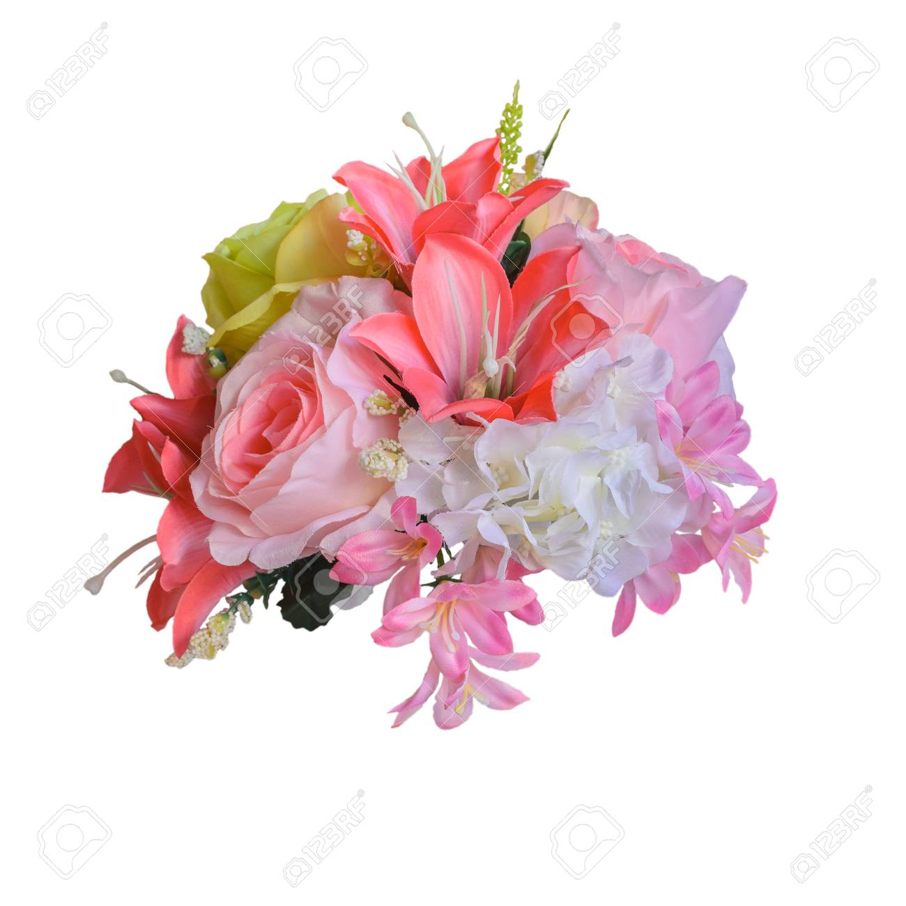Beautiful Bright Bouquet Of Roses And Other Flowers On A White