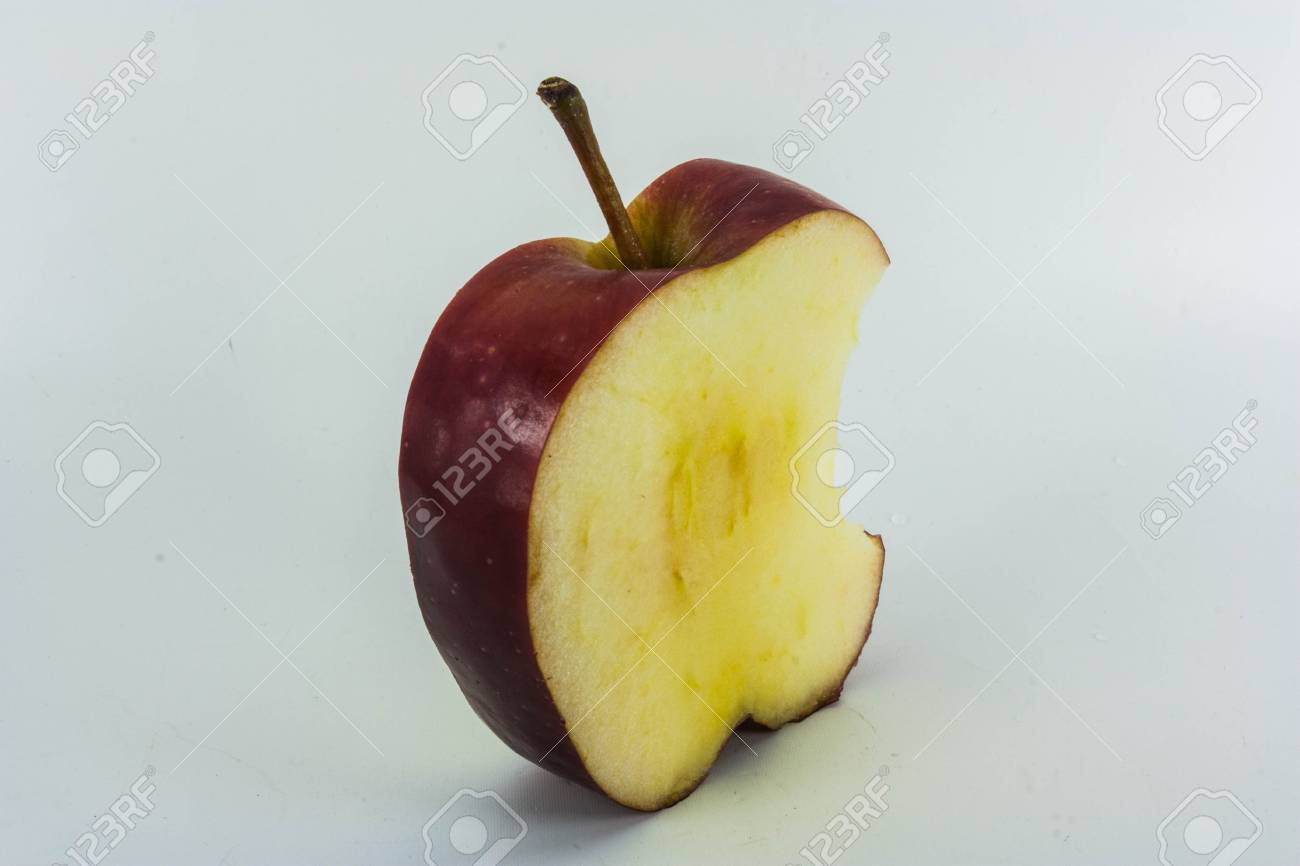 Red Apples with green leaf on white Stock Photo - 17563871