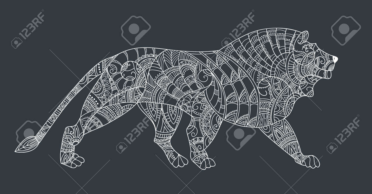 Line Art Illustration Style : Lion on black background. leo style . pattern for coloring book