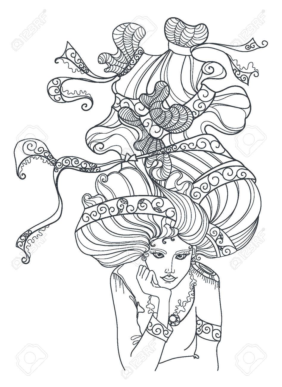 花輪とかなりエレガントな女の子は大人のぬりえ本アートワーク