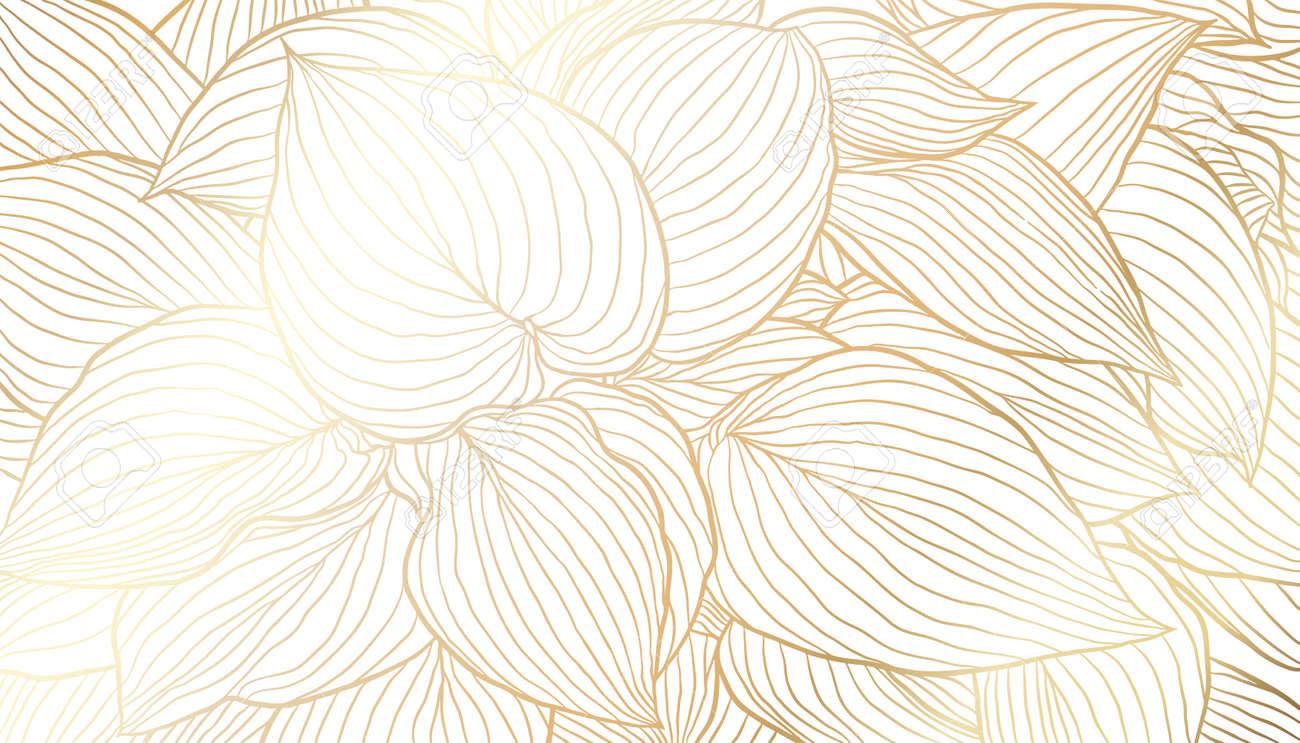 Golden leaves hand drawn line art on white background. Luxury art deco wallpaper design for print, poster, cover, banner, fabric, invitation. Vector digital illustration. - 165545839