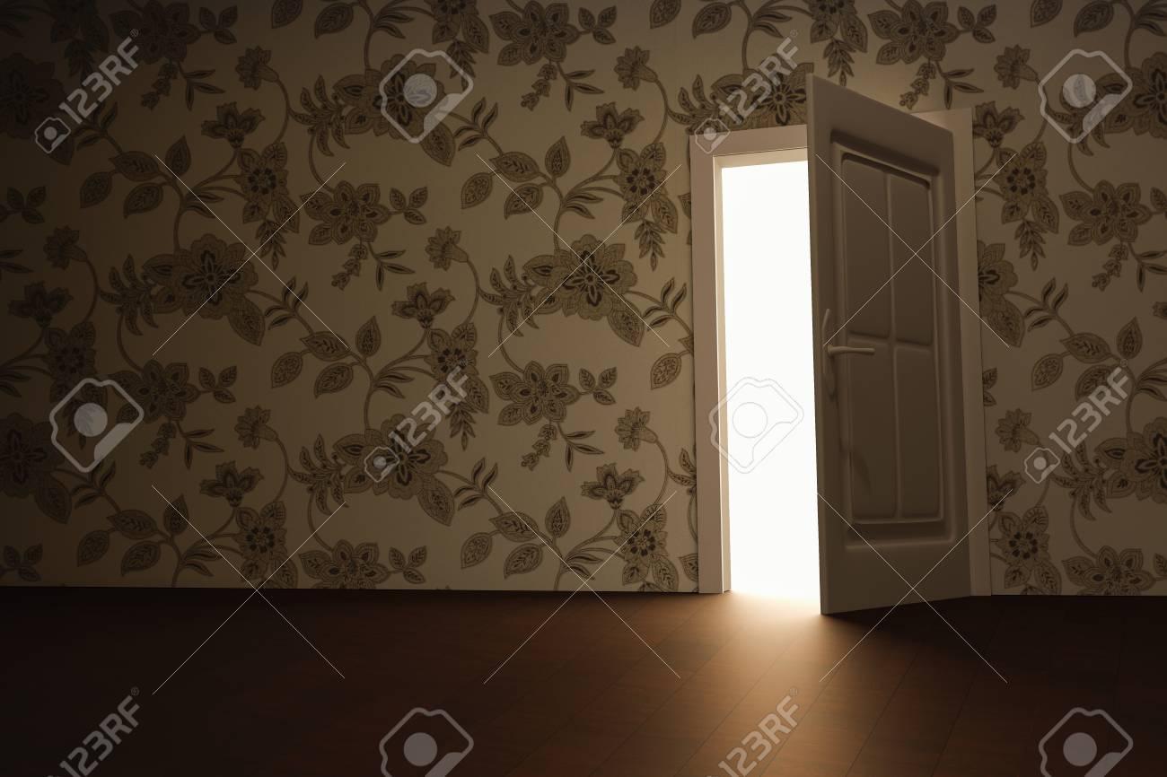 Papier Peint A Fleurs Avec La Porte Ouverte La Lumiere D Entree