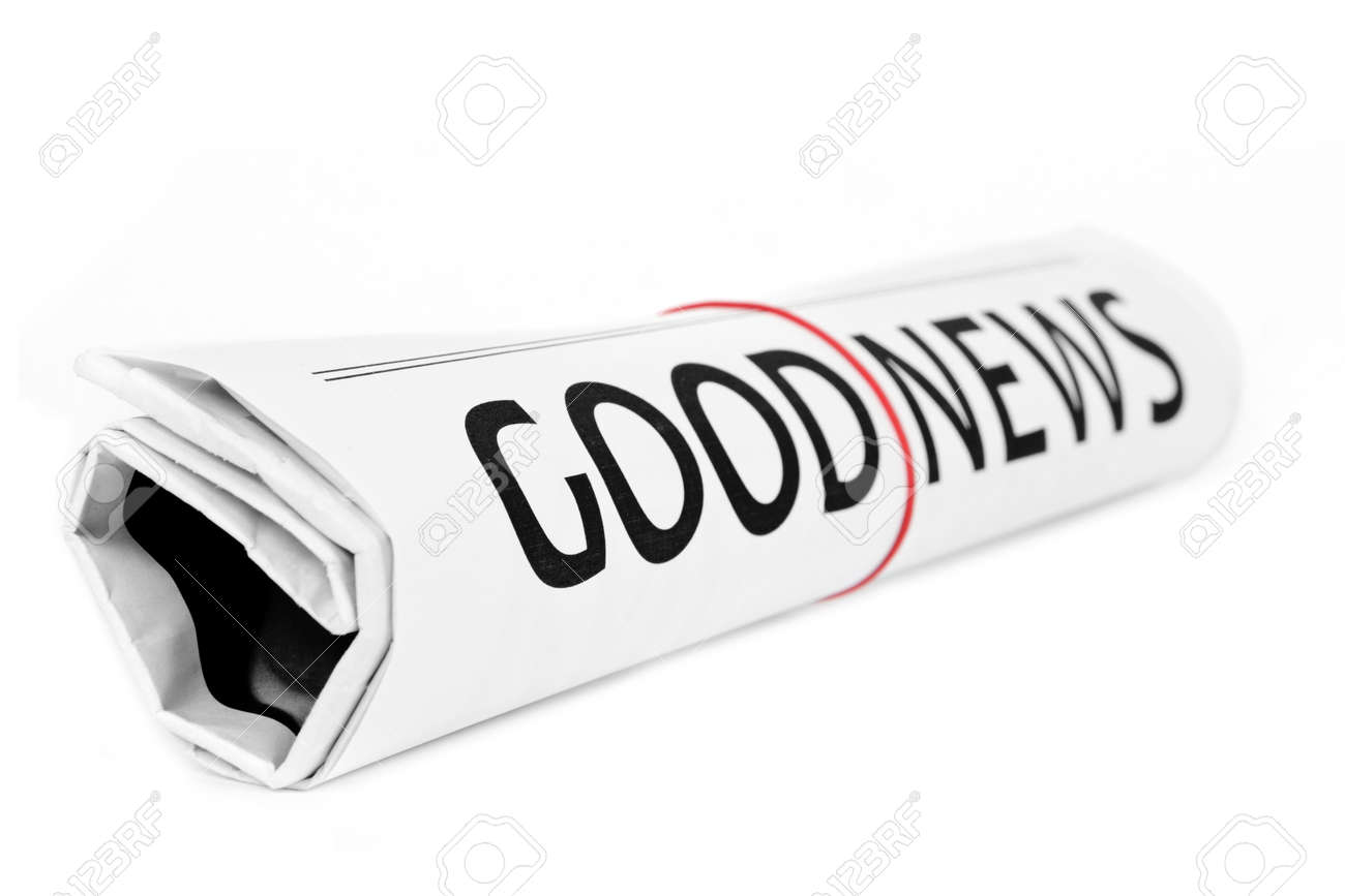 good news newspaper roll with white background stock photo picture