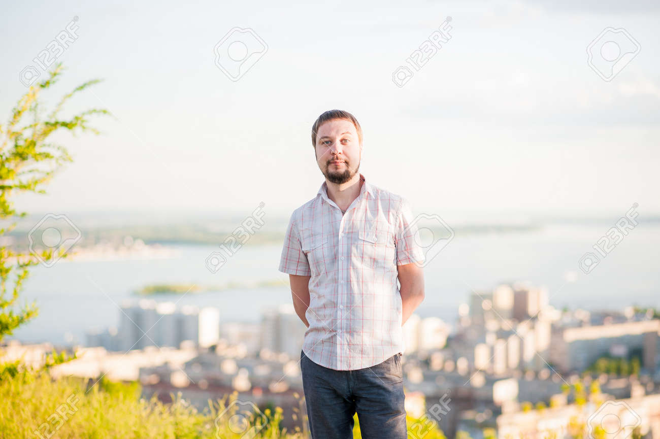 Portrait Of A Man In The Background Of Saratov Russia View Stock
