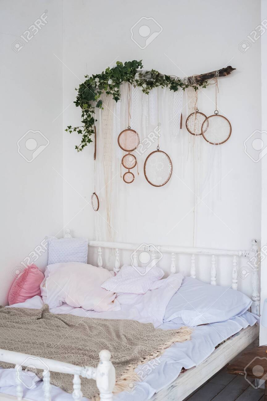 Scandinavian Style Bedroom Decor Rustic Bedroom Interior And Stock Photo Picture And Royalty Free Image Image 135127594