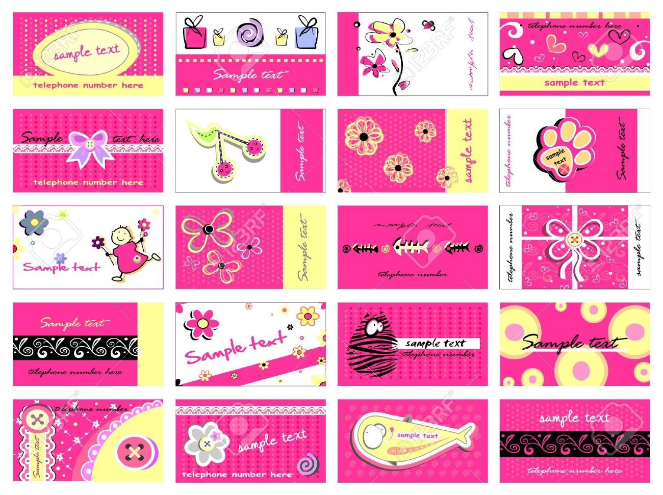 Set Of 20 Business Cards For Girls Royalty Free Cliparts, Vectors ...