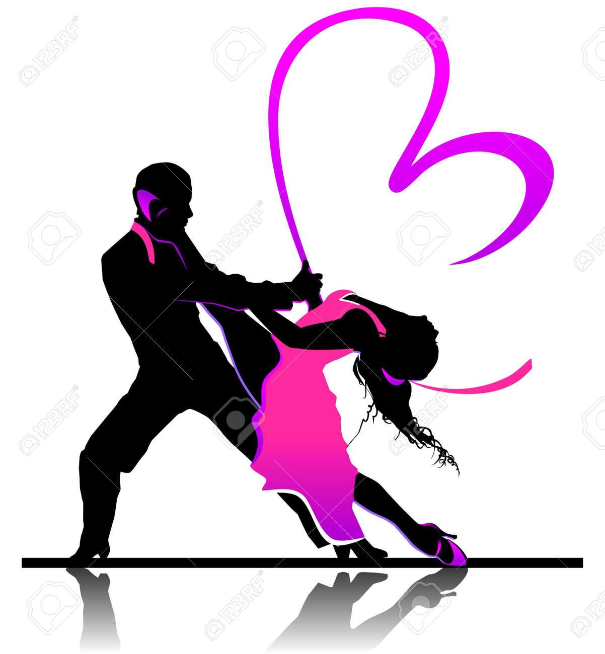 美しいダンスのカップルをバレンタイン イラスト ロイヤリティフリー