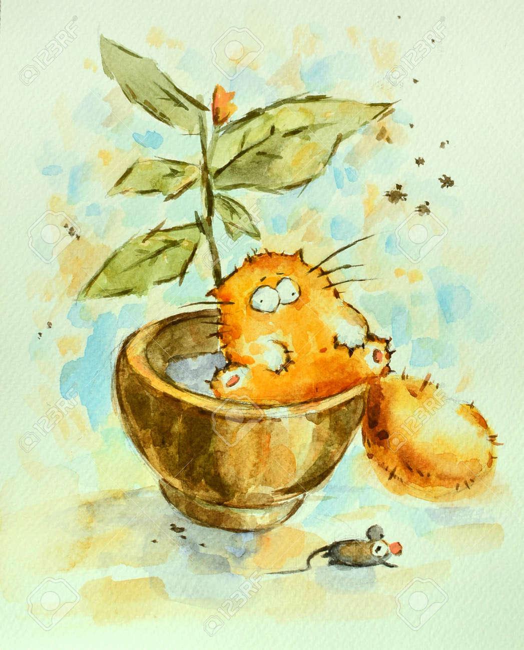 Drole De Chat Rouge Paresseux Assis Dans Le Pot De Fleur La