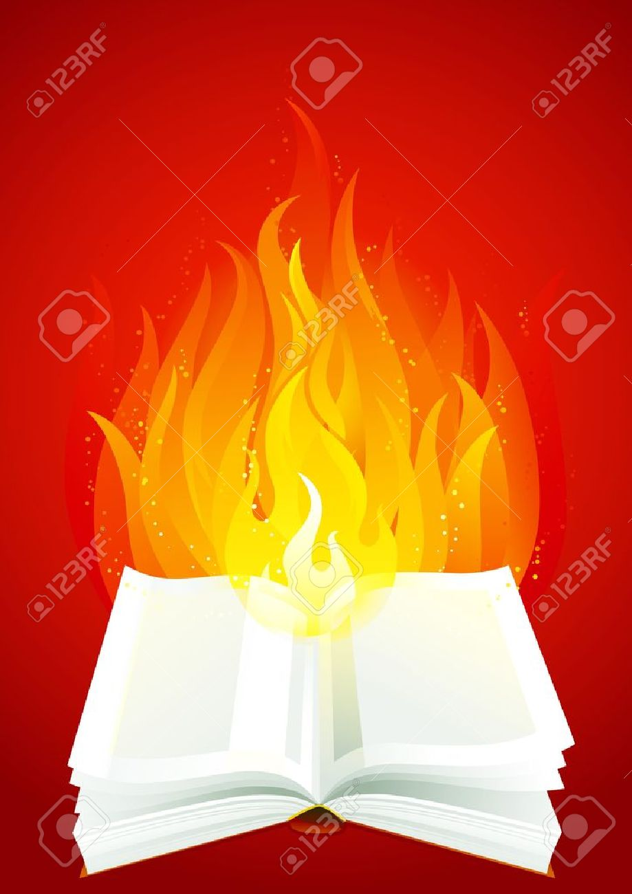 Fire book. Open book with