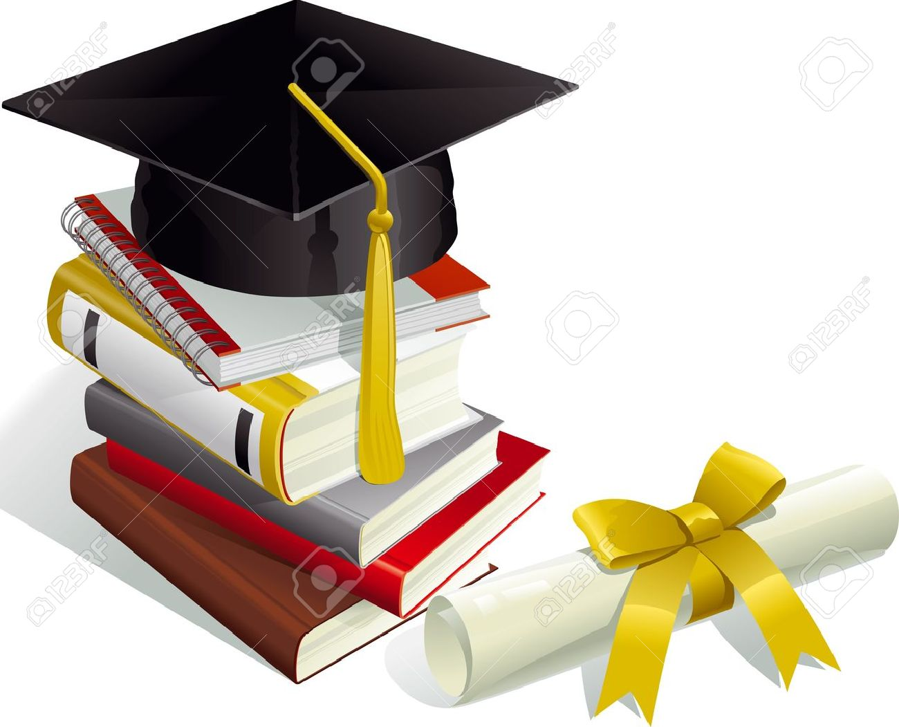 Education. Mortar Boards, books and Diploma. Stock Vector - 9147191