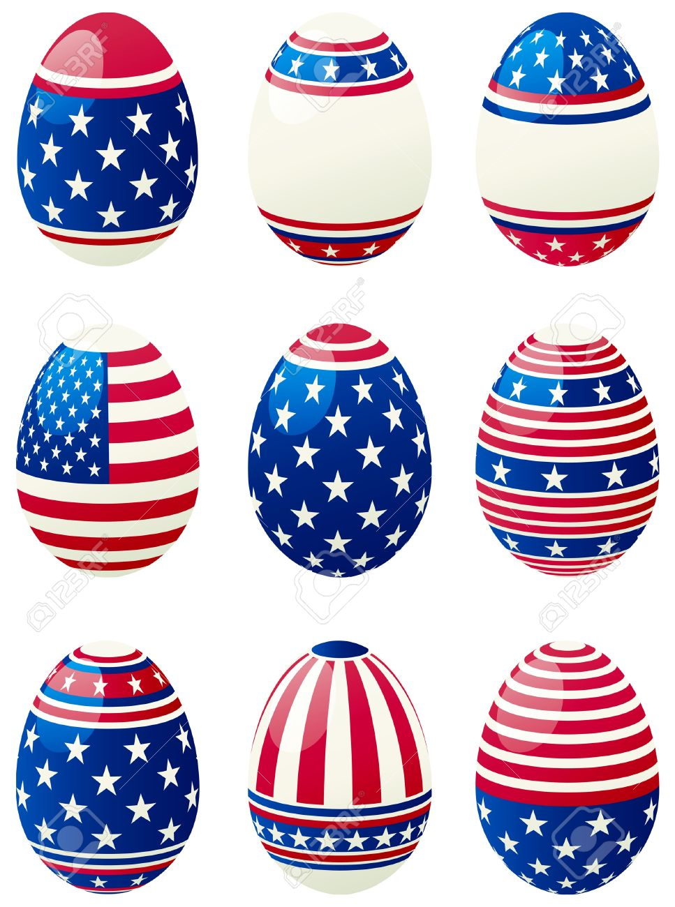 Set of easter eggs with stars and stripes at style of USA flag. Stock Vector - 9270894