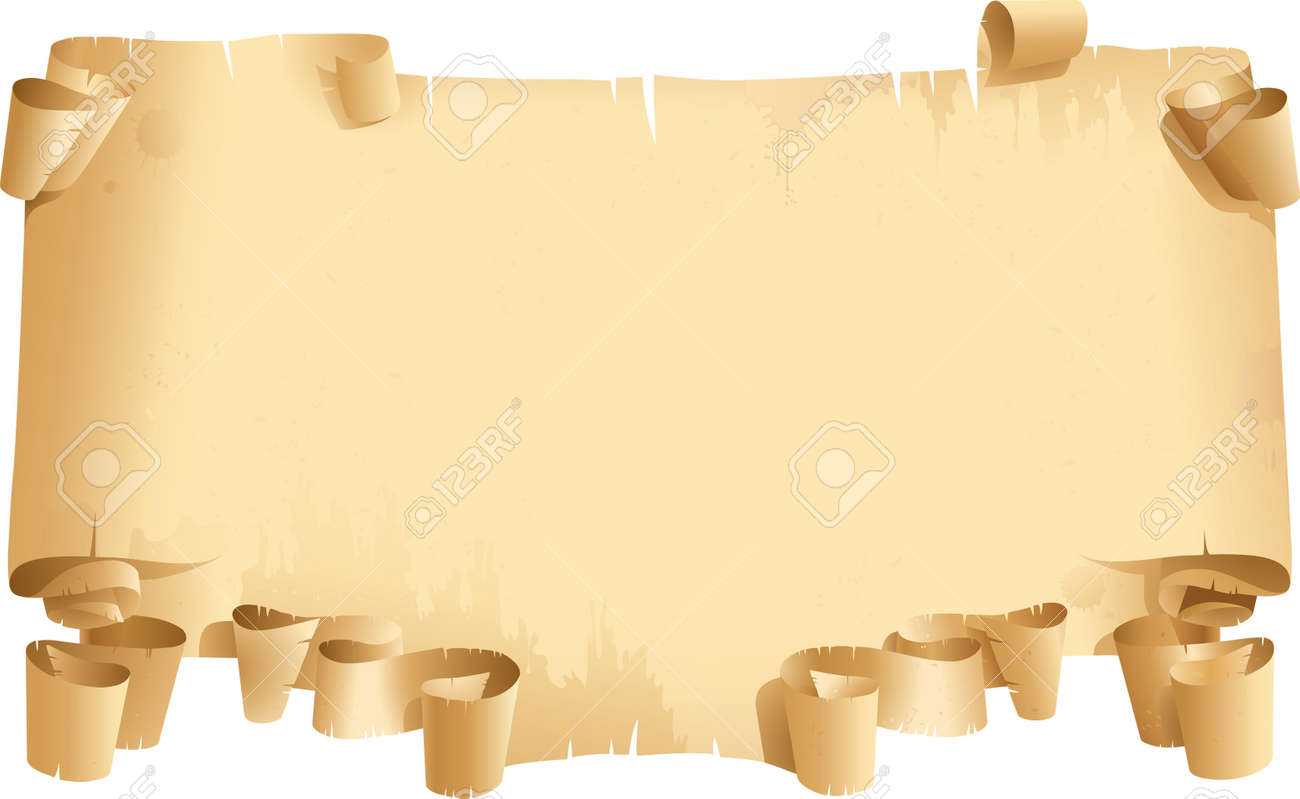 Vintage blank. Old roll of Papyrus on white background Stock Vector - 10425848