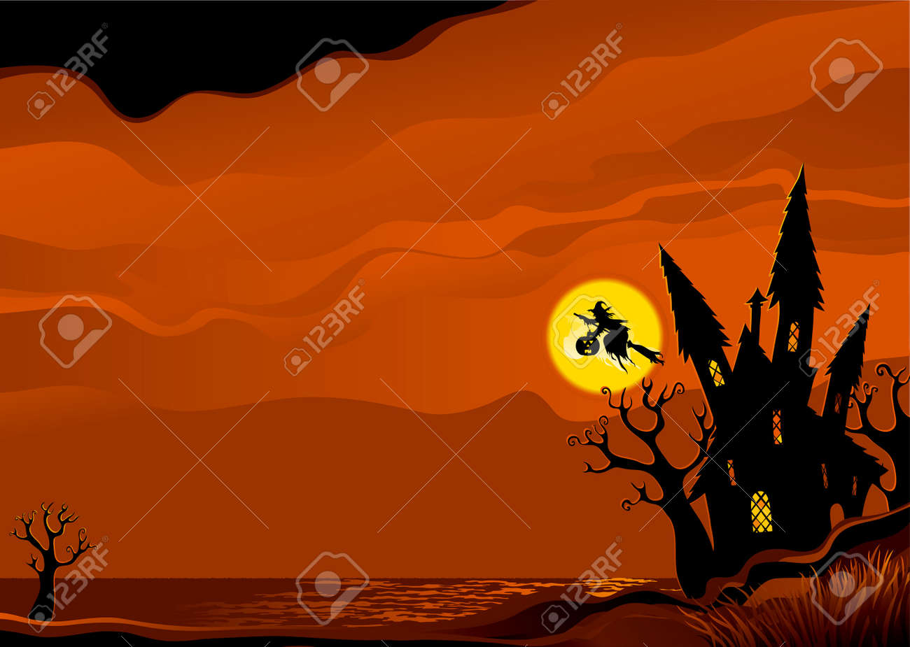 Halloween background. Witch flying on broom from her house. - 10465623