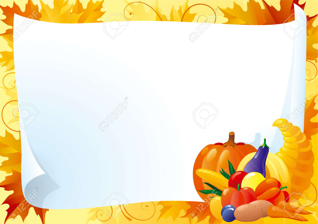 Horizontal Card For Thanksgiving Empty Blank With Cornucopia And Many Vegetables On Ornate Background With