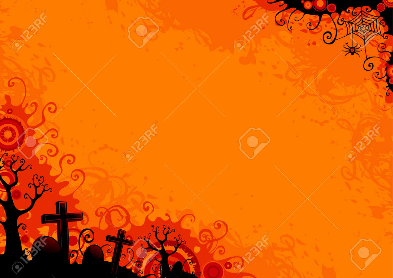 Halloween grunge background with  trees, graveyard, grave, grave stone, web and spider. Stock Vector - 10465626
