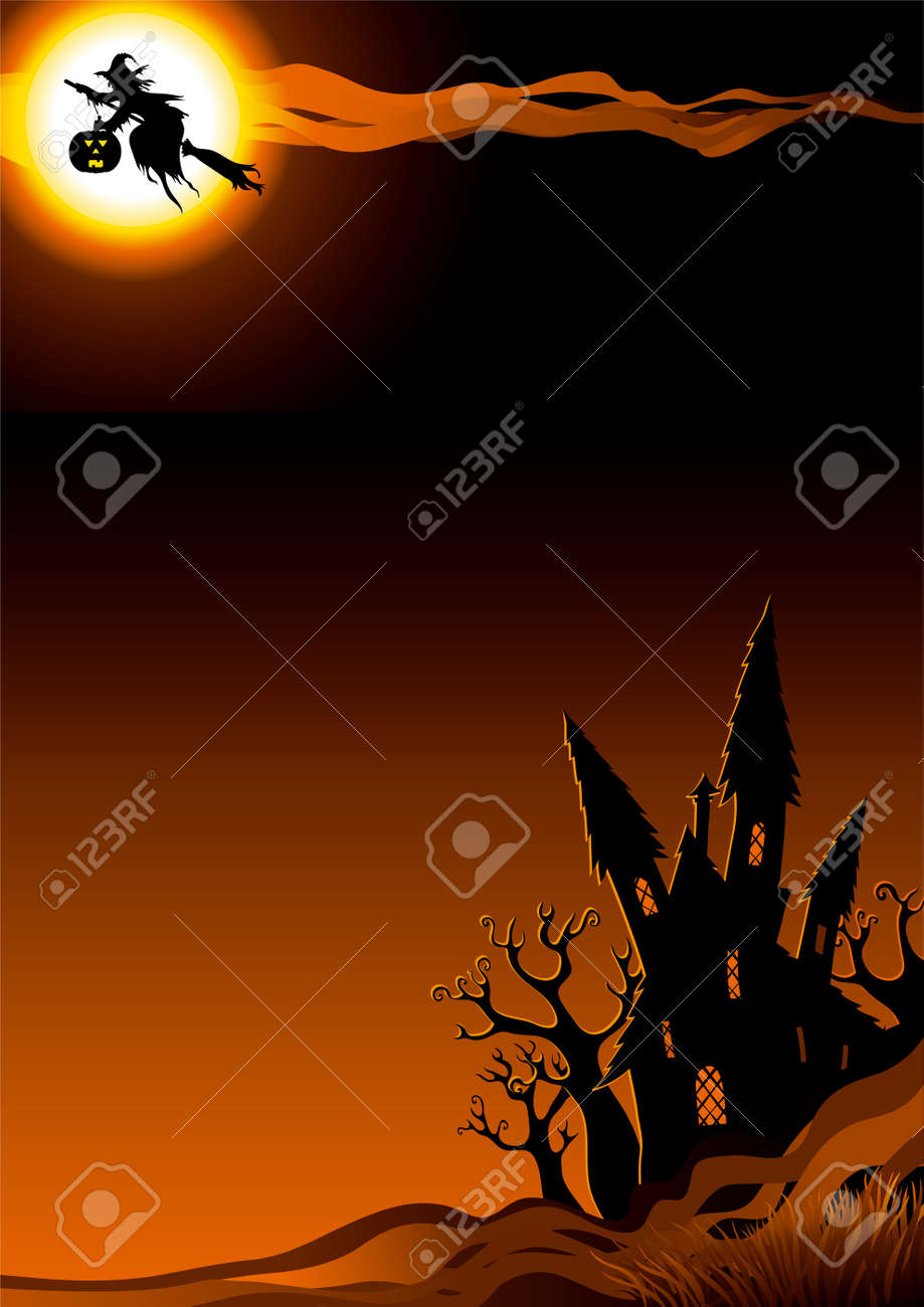 Halloween night. vertical background with flying Witch  and her house. Stock Vector - 10510360