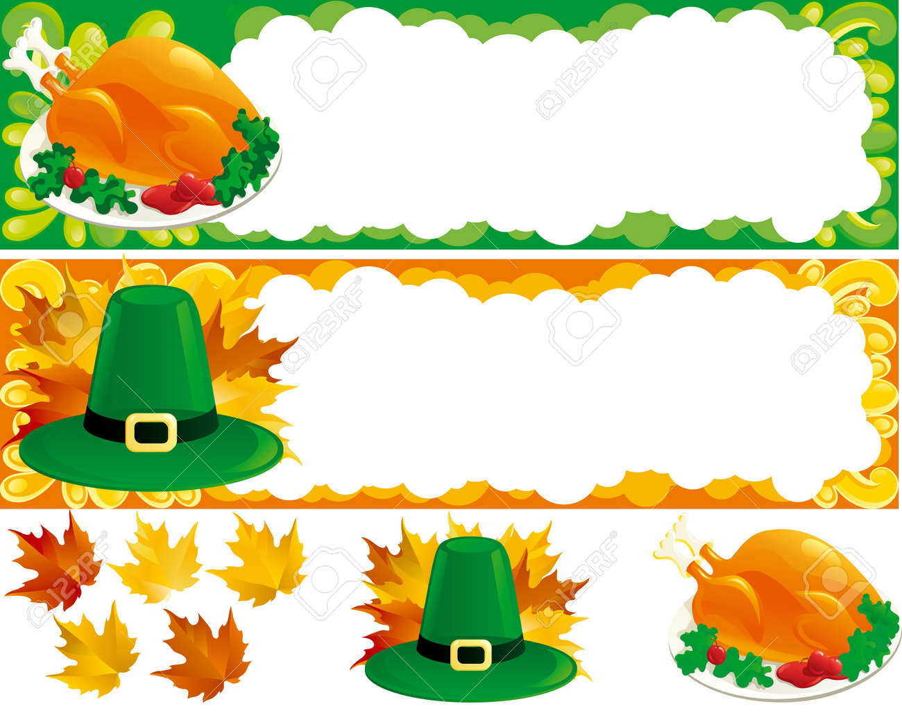 Two web banners for thanksgiving. Hat, Turkey-cock and  autumn leaves. There are no meshes in this image. Stock Vector - 10544892