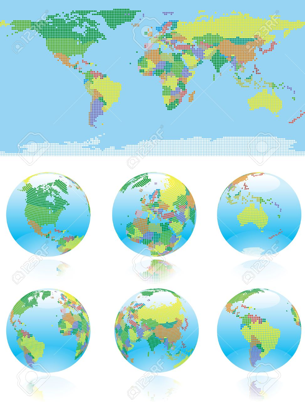 World Map World Map And Six Kind Of Globe With All Countries - World map of all countries