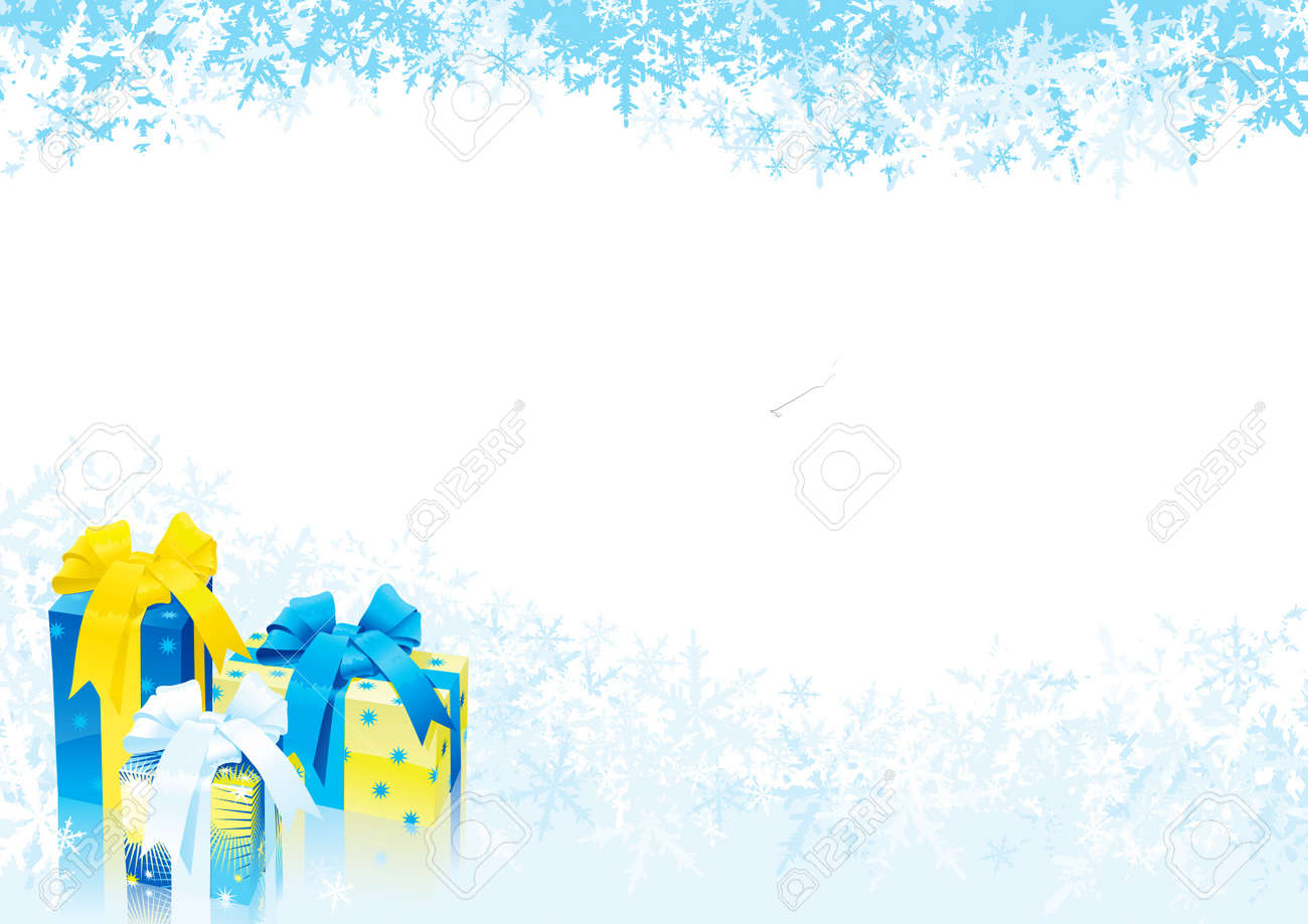 Christmas gifts. Vector illustration of gift boxes on abstract background with many snowflakes Stock Vector - 11082969