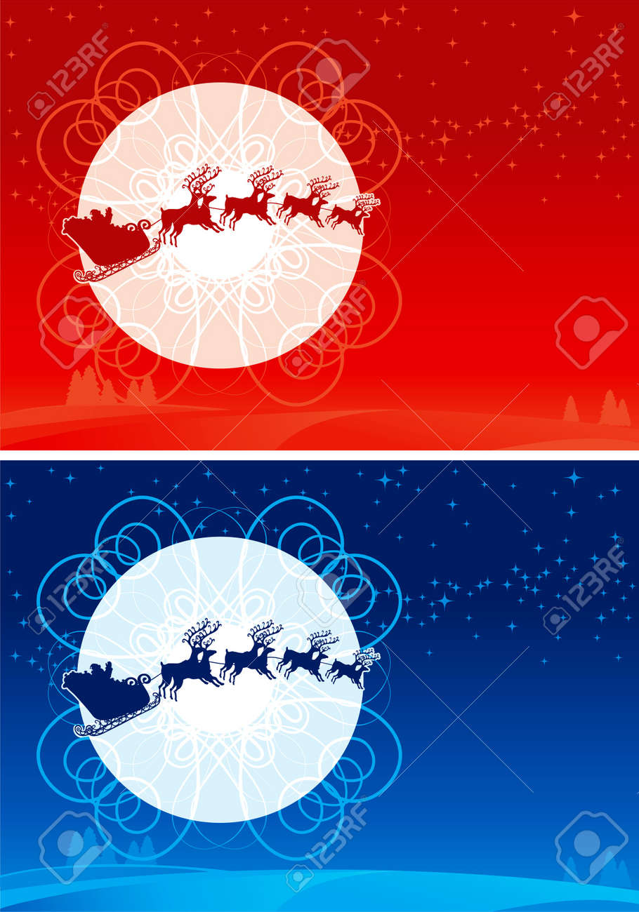 Santa Claus Sleigh. Two vector christmas cards with flying of Santa Claus Sledge and his reindeers Stock Vector - 11082965