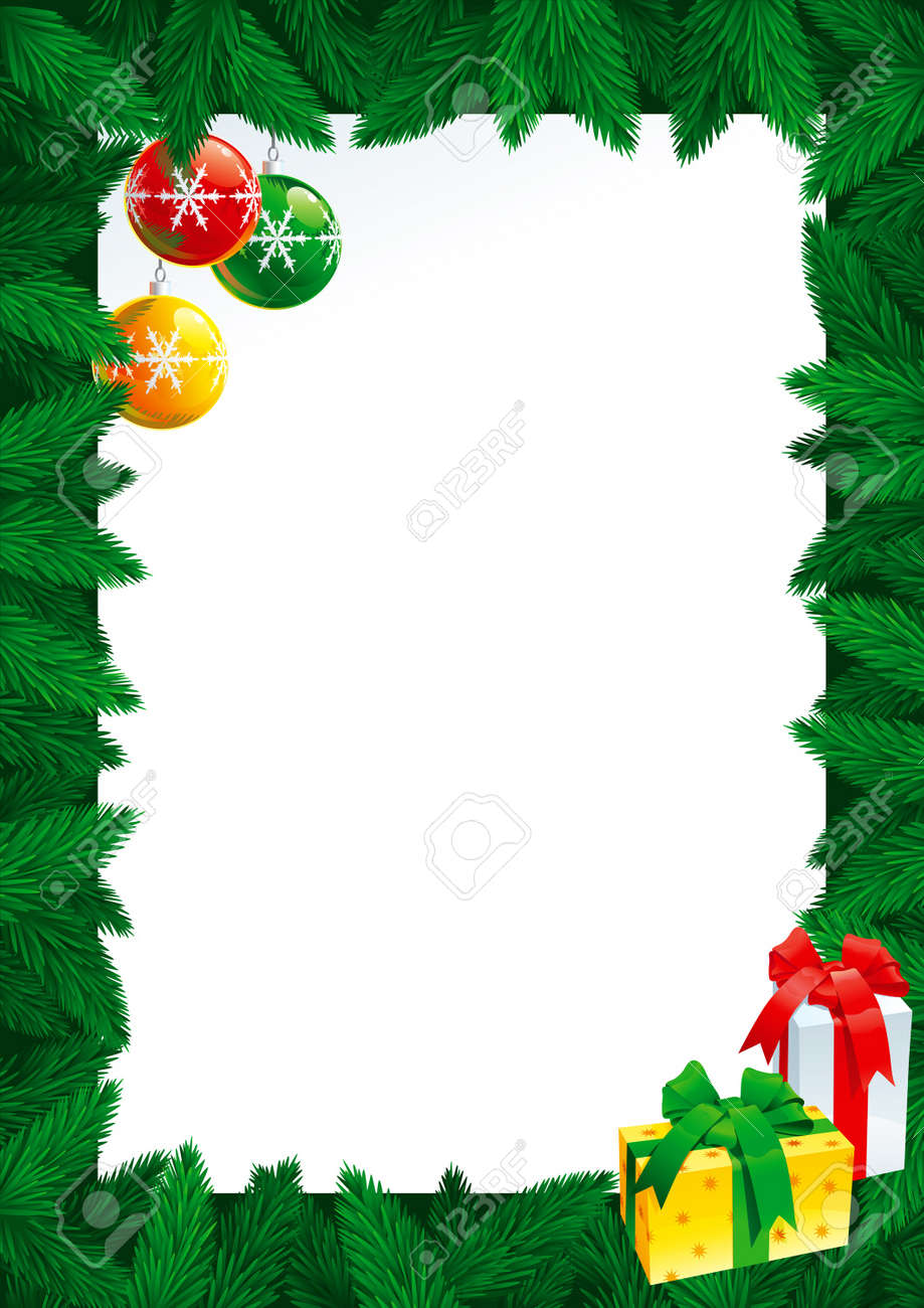 Christmas Card With Empty Blank For Text. Vector Christmas Card ...