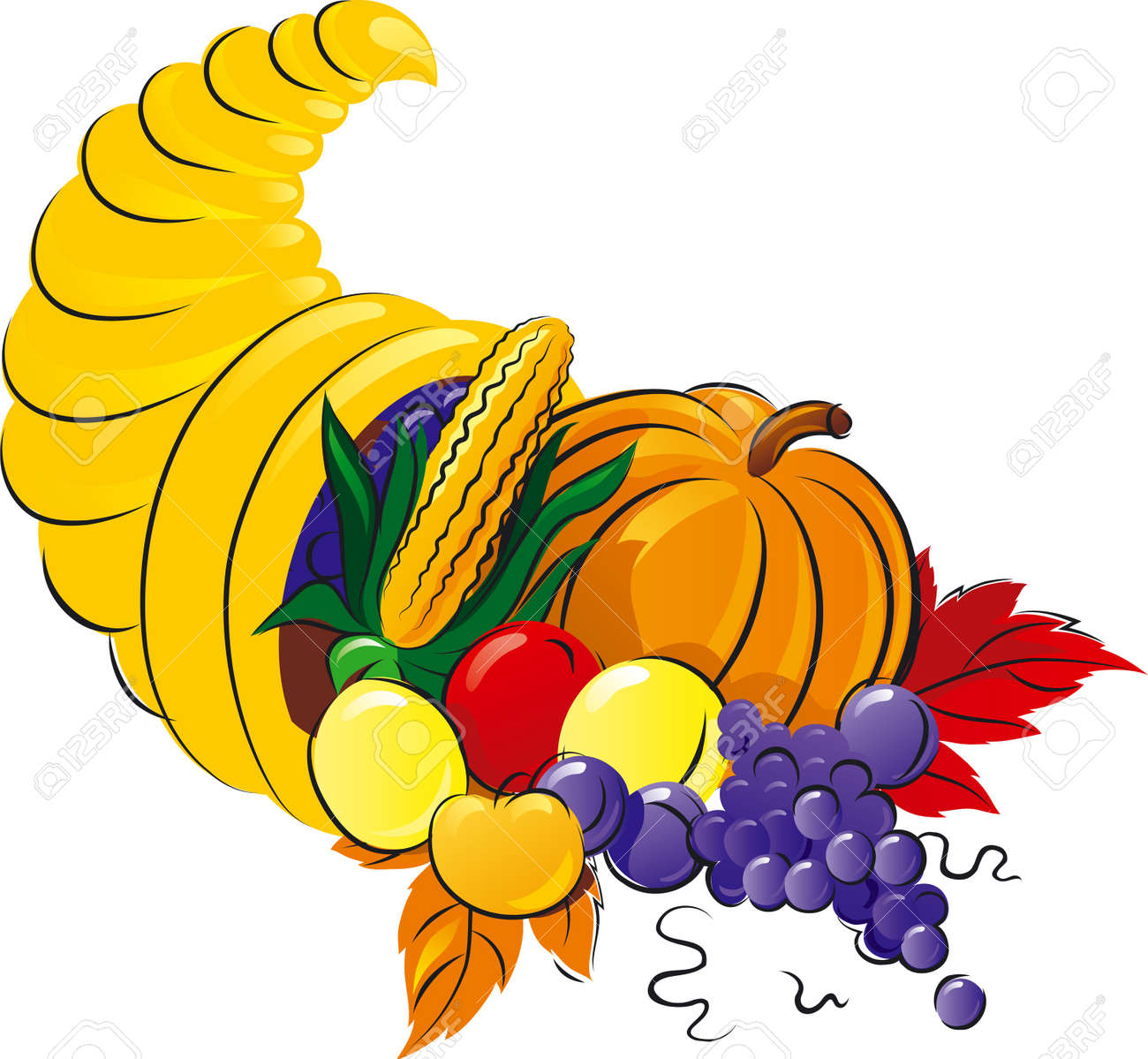 Horn of Plenty. Vector illustration of Cornucopia with fruit, grape  and vegetable. Stock Vector - 11236899