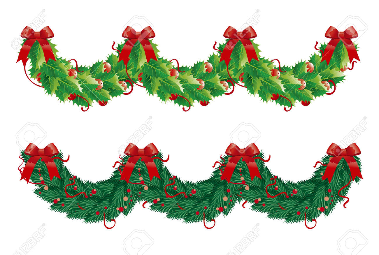 Christmas garlands decorations - Christmas Garland Two Christmas Garlands Semicircle Holly And Fir Garlands For Christmas