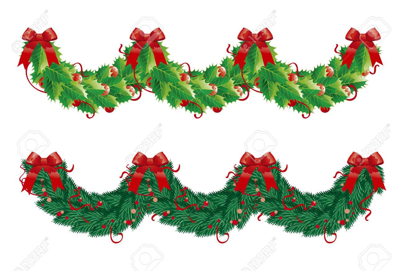 dos guirnaldas de navidad semicrculo acebo y abeto guirnaldas para la decoracin de - Guirnaldas De Navidad