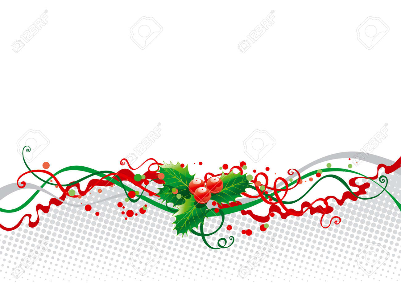 Abstract Christmas Background With Holly Royalty Free Cliparts ...