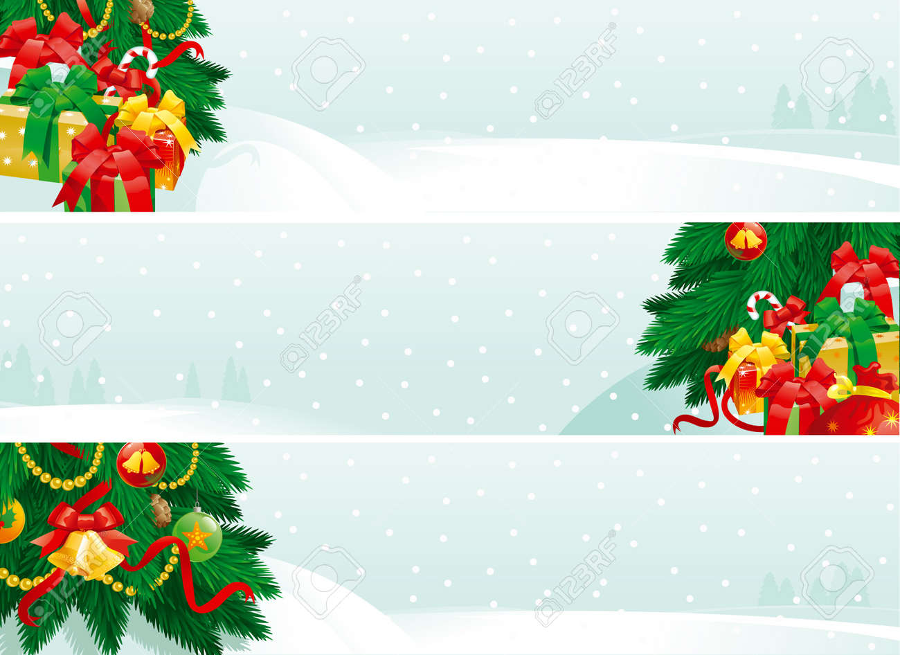 Christmas decorations and Christmas gifts. banners of christmas fir tree with baubles and gift boxes on winter landscape. Stock Vector - 11320692