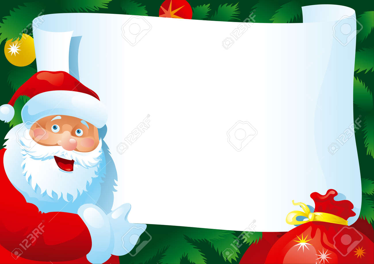 Christmas Letter Vector Card With Santa Claus And Paper For