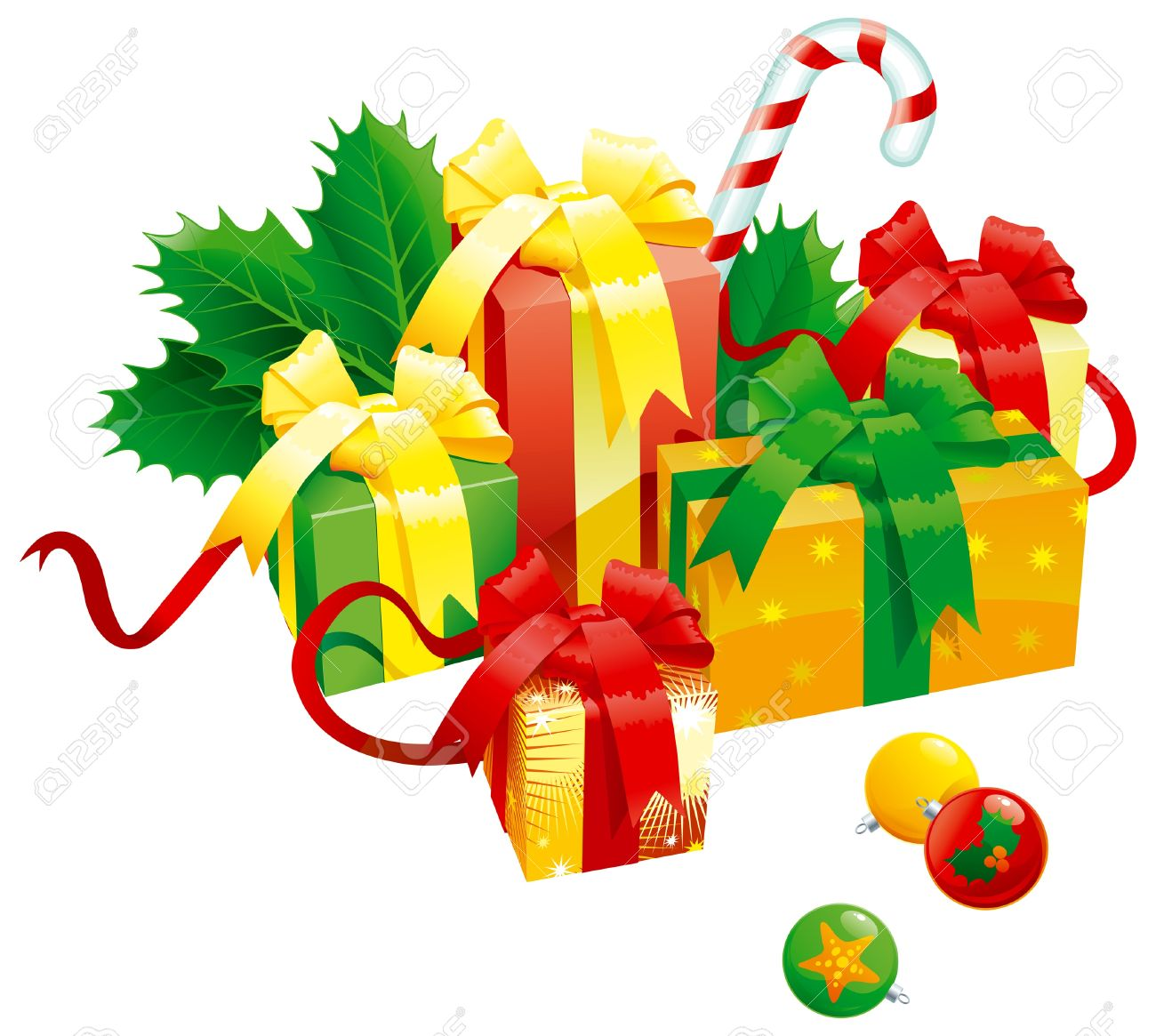 Christmas presents. Vector of christmas presents - gift boxes with bow, candy cane, baubles end holy leaves isolated on white background Stock Vector - 11561068