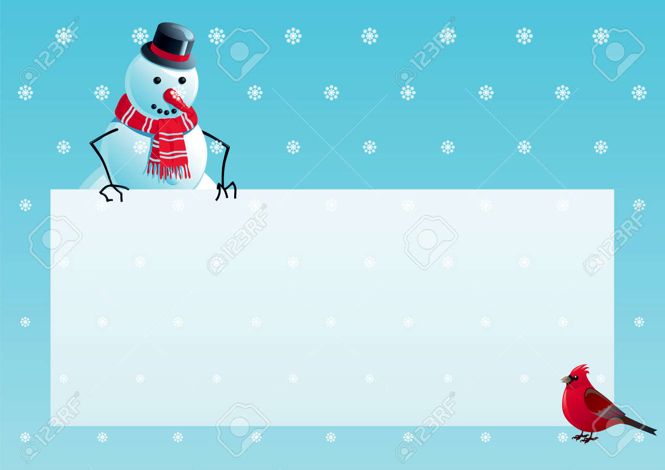 Snowman and cardinal bird with christmas letter. Vector illustration of snowman and cardinal bird with empty blank on horizontal background with snowflakes. Stock Vector - 11561131
